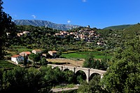France, Herault, Orb Valley, village of Vieussan in the distance and AOC Saint Chinian and Roquebrun