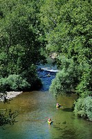 France, Herault, Orb Valley at Vieussan, kayaking on the Orb River