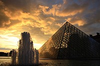 France, Paris, Louvre Museum, the Louvre Pyramid by architect Ieoh Ming Pei