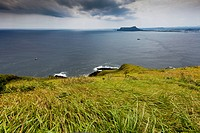 South Korea, Jeju Province, view of Ilchugbong ancient volcano by the sea from U Island