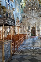 Greece, Chios Island, the Medieval village of Pyrghi is part of Mastikochoria Mastic producing villages, the Dormition church of the 17th century