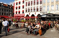 France, Nord, Lille, walkers and outdoor cafes on the Place Rihour