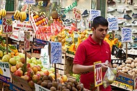 Italy, Campania, Naples, Historic center listed as World Heritage by UNESCO, via Pignasecca, Pignasecca market, a fruit and vegetable stallholder