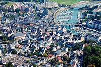 France, Loire_Atlantique, Le Pouliguen, the town and the port aerial photography