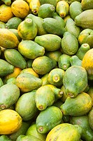 United States, Hawaii, Big island, Hilo, flower market, papayas for sale