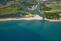 France, Var, Frejus, Saint Aygulf district, beach of Saint Aygulf, mouth of the Argens aerial view