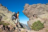 France, Haute Corse, hiking on the GR 20, between Carozzu refuge and Ortu di u Piobbu refuge