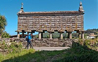 Spain, Galicia, Horreo Lira raised granary on the way to Fisterra to Muxia