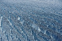 An actively crevassing glacier.