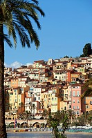 France, Alpes Maritimes, Menton, the beach, the old city in the background