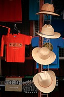 Straw hats and T-shirts for sale in the souvenir market in Xochimilco  Xochimilco  Mexico