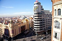 Plaza Callao square in Gran Via street, downtown of Madrid, Spain, Europe