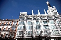 Classic building of Hotel Reina Victoria -now Melia Hotel- at Santa Ana square, Barrio de las Letras, Madrid, Spain, Europe