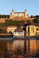 Fortress Marienberg, Church of St. Burkard, Main River, Wuerzburg, Lower Franconia, Franconia, Bavaria, Germany, Europe, PublicGround