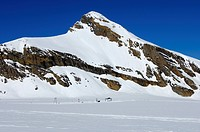Oldenhorn Mountain above the Tsanfleuron Glacier with the Glacier 3000 ski resort, Les Diablerets, Switzerland, Europe