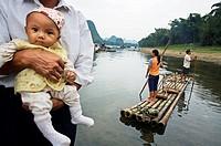 Boat  Fuli village, Li River, Guangxi, China.