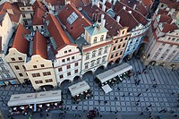view on old town from Tower of Town Hall, Prague, Czech Republic
