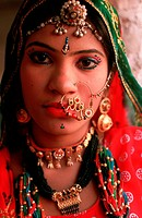 Hindu girl traditionally dressed. From Rajasthan, India.