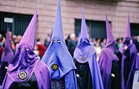 Penitents taking part in a procession, during the Semana Santa holy week festivities in Guadix, Granada Provice, Southern Spain