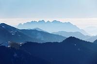 View from Mt Wallberg, Mt Wilder Kaiser in Tyrol at back, Upper Bavaria, Bavaria, Germany, Europe, PublicGround