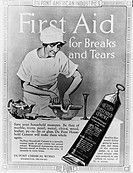 DuPont Household Cement advertisement: First Aid for Breaks and Tears.