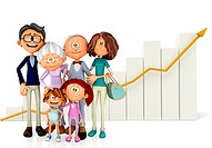 3D Family with a growth graph _ isolated over a white background