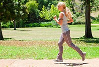 Side view of a woman jogging