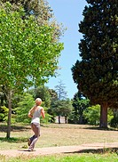 Sportswoman jogging in the park