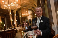 France, Haute Savoie, Evian les Bains, the sommelier at the restaurant at the Hotel Edouard VII, Evian Royal Resort