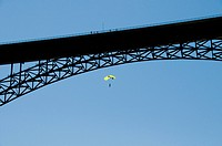 Base jumper below Perrine Bridge over the Snake River near Twin Falls, ID. Perrine Bridge is the only legal base_jumping bridge in the US.