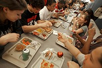 Middle school junior high, students eat in the cafeteria. Winston_Salem, NC.