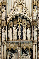 France, Seine Maritime, Pays de Caux, Cote d´Albatre Alabaster Coast, Fecamp, Benedictine Palace, collection of Sacred Art, detail of a triptych of iv...