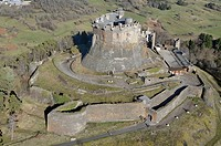 France, Puy_de_Dme, natural regional park of the Volcanoes of Auvergne, the castle of Murol aerial view
