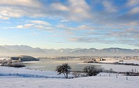 Early morning on Lake Rieg, Pfaffenwinkel, Upper Bavaria, Bavaria, Germany, Europe, PublicGround