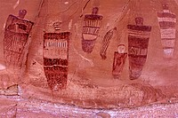 Figures on the Great Gallery in Horseshoe Canyon of Utah.