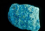 Lazurite, the principle blue mineral in lapis lazuli rock.