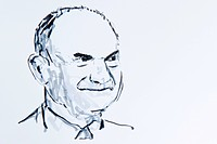 Ferdinand Piech, chairman of Volkswagen, drawing by Gerhard Kraus, Kriftel, Germany