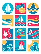 Twelve icons with a water_sailing theme.