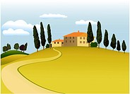 Rural landscape _ vector background. Image contains gardient meshes.