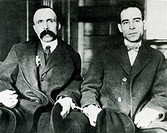 Bartolomeo Vanzetti left 1891_1927 and Ferdinando Nicola Sacco right 1888_1927, during their trial for murder in 1921. Vanzetti and Sacco were Italian...
