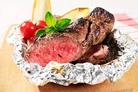 Roast fillet of beef on tinfoil