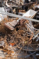 Pile of discarded industrial items at a scrap metal recycling centre, Quebec, Canada