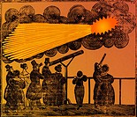 Broadside of the 1835 apparition of Halley´s comet. Woodcut.
