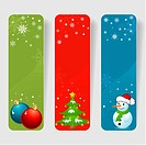 Three christmas frame with baubles, tree & snowman, element for design, vector illustration
