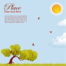 Background with Tree, sun and grass, element for design, vector illustration