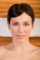 Portrait of beautiful young woman on a spa relaxed after a spa treatment