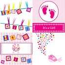 Set of four baby girl announcement cards