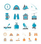 travel, Tourism, vacation and mountain objects _ vector illustration