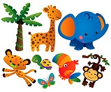 cartoon illustration of various cute animal collection