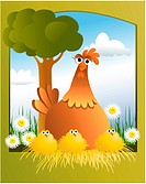 Cartoon Easter chickens _ vector illustration. Image contains gradient meshes.